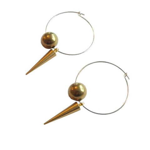 Sphere and Spike Hoop Earrings