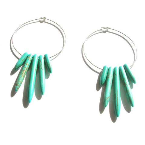 Turquoise Spike Hoop Earrings