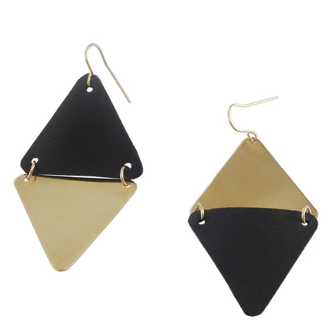 Brass and Leather Triangle Earrings