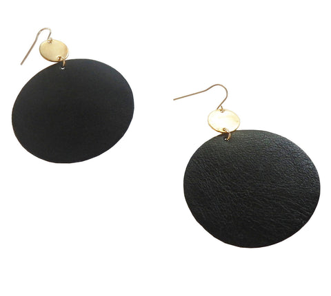 Large Circle Brass and Leather Earrings