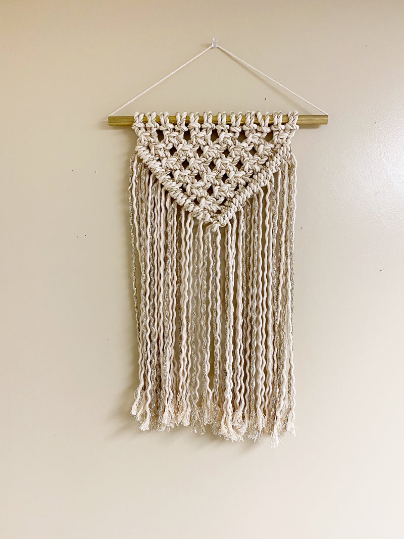 Beige and Metallic Gold Macrame Wall Hanging