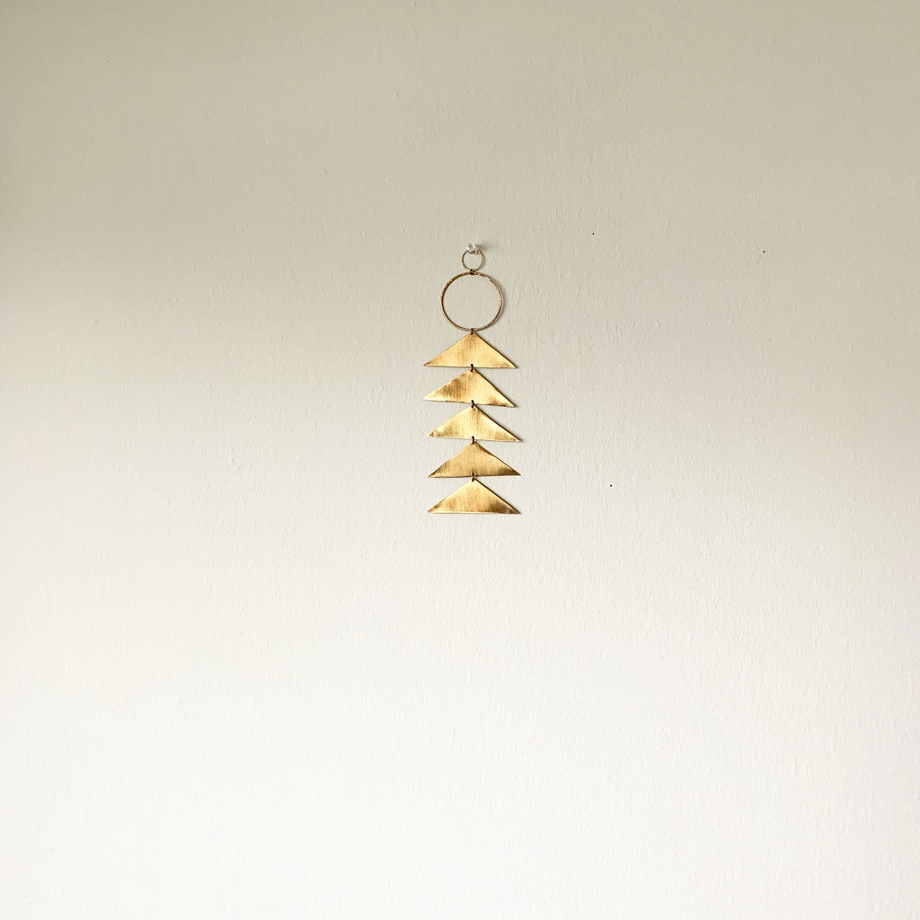 Brass Triangle Geometric Wall Hanging