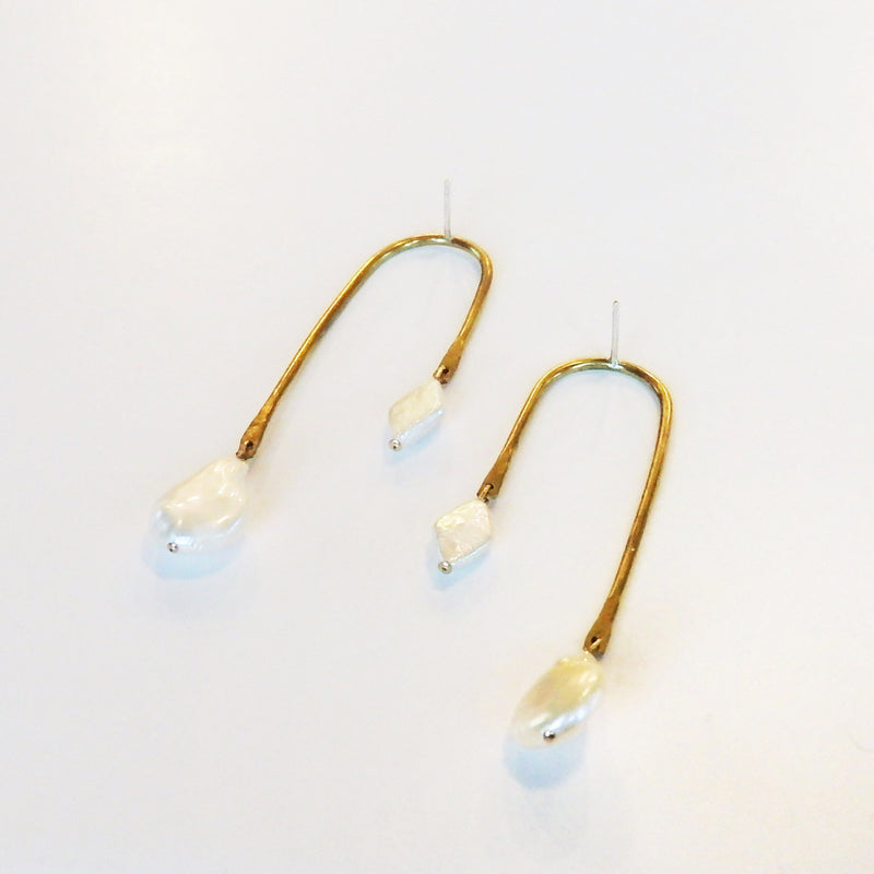 Brass Curved Pearl Drop Earrings