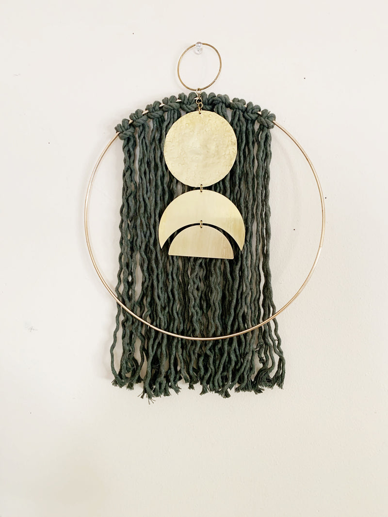 Medium Brass and Fiber Hoop Wall Hanging