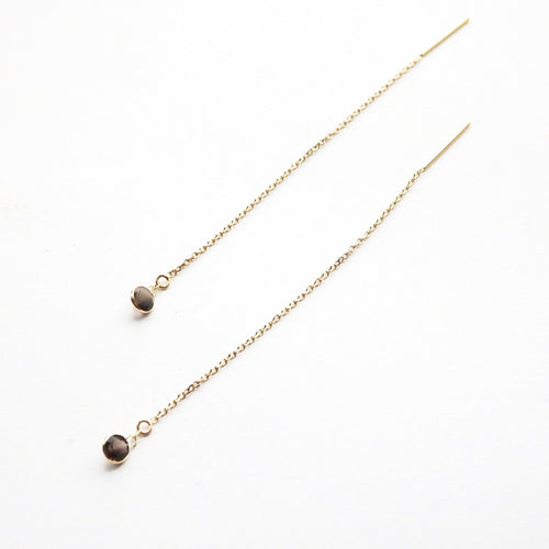 Metrix Jewelry - Smoky Quartz Threaders (in 14 Karat Gold)