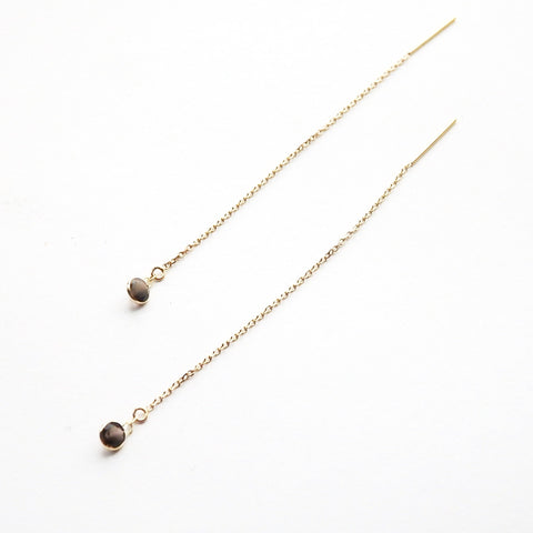 Smoky Quartz Threaders In 14 Karat Gold