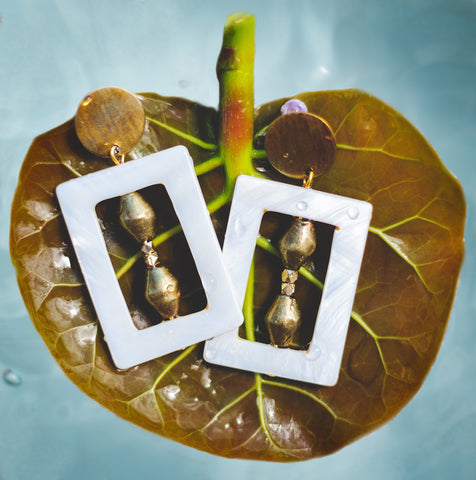 Rectangle Shell and Brass Geometric Stud Earrings