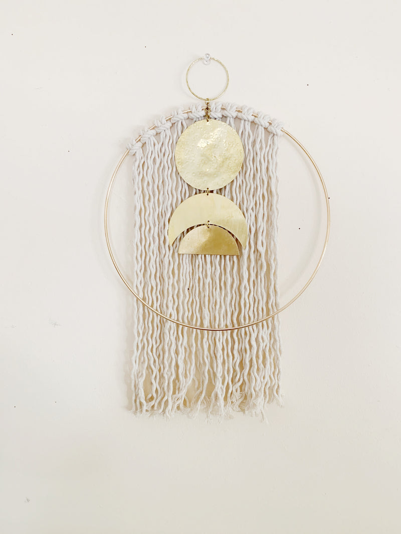 Metrix jewelry Medium Brass and Fiber Hoop Wall Hanging