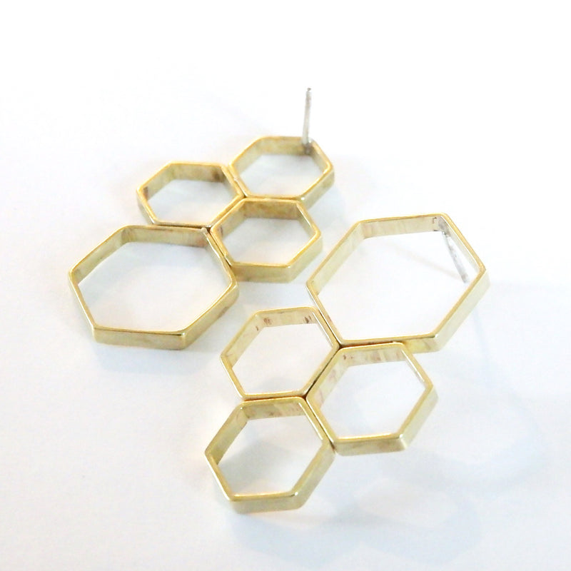 Hexagon Cluster Earrings