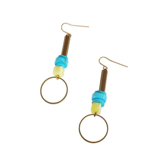Metrix Jewelry - Gemstone and Brass Drop Earrings (Jade and Turquoise)