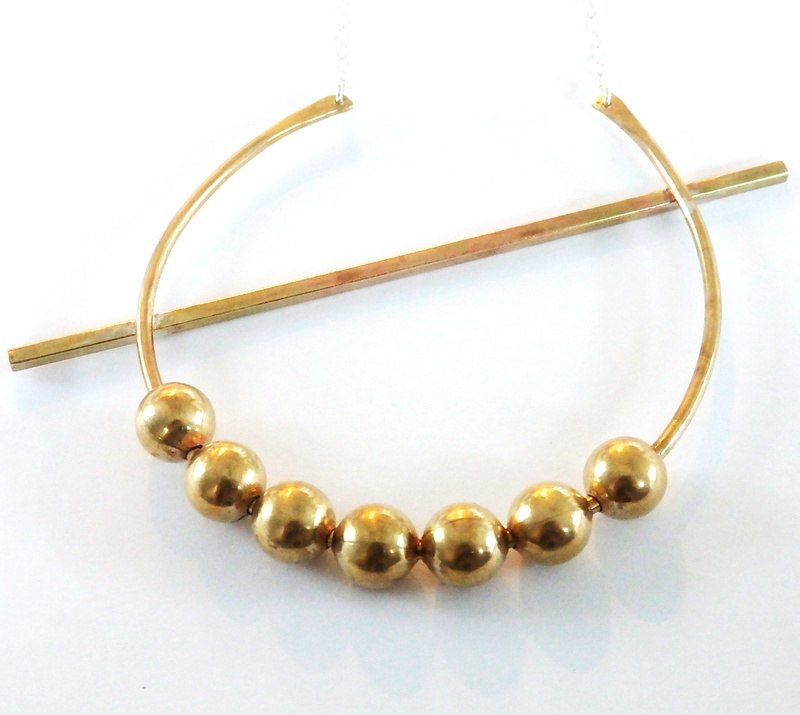 Large Ball on a Crescent Necklace