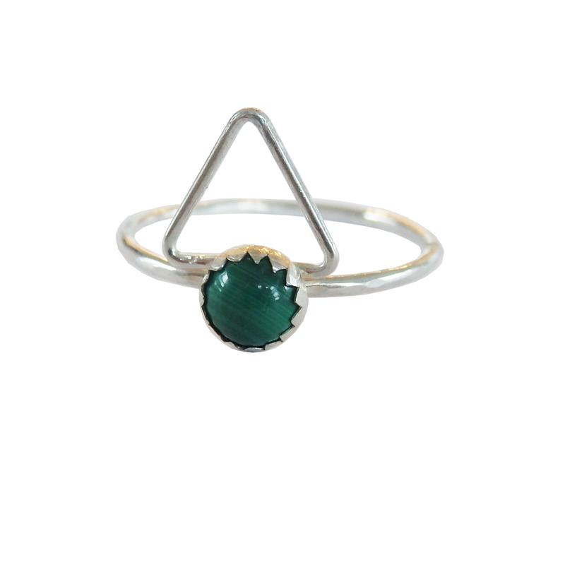 Gemstone Triangle Ring - Malachite