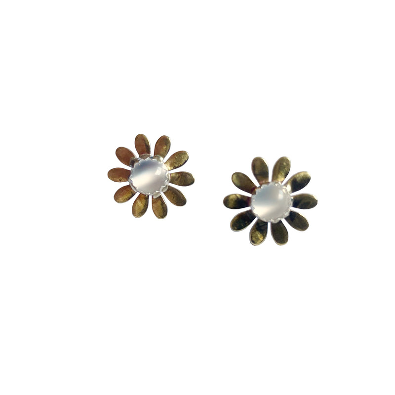 Brass Floral Earring with Gemstones - Choose your Stone