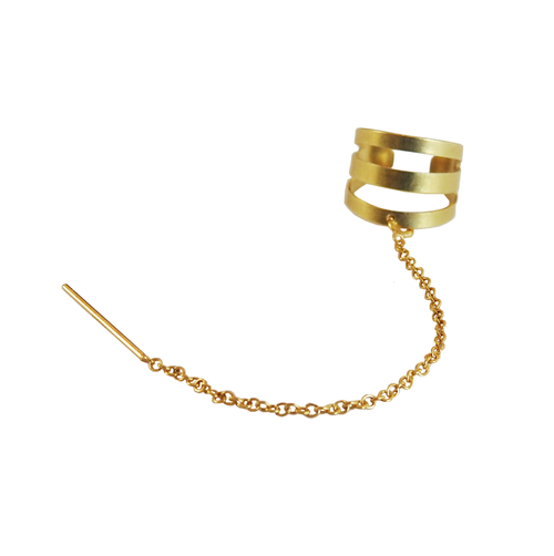 Metrix Jewelry - Brass Open Ear Cuff with Gold Fill Threader