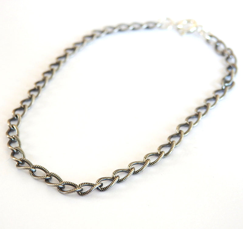 Oxidized Sterling Silver Chain Bracelet