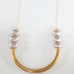 Pastel Pink Pearl U Necklace