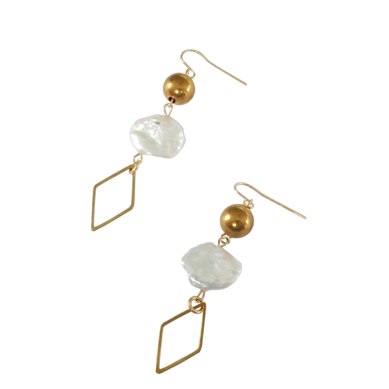 Brass and Freshwater Pearl Dangle Earrings