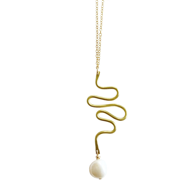 Brass Pearl Squiggle Necklace