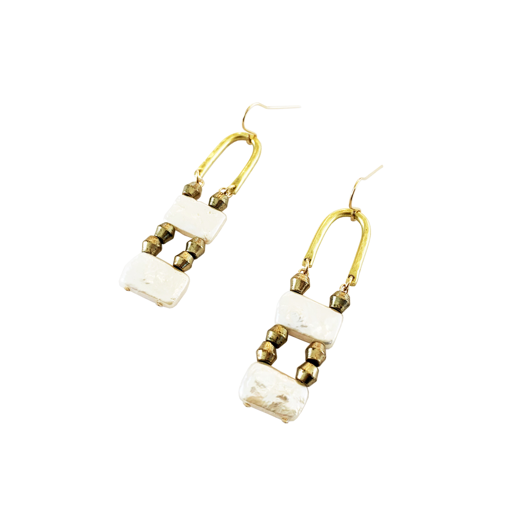 Brass and Rectangle Pearl drop Earrings