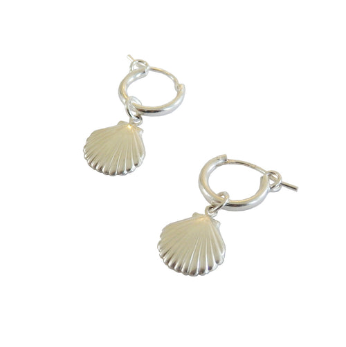 Metrix Jewelry - Shell Huggie Hoops (in Sterling Silver)