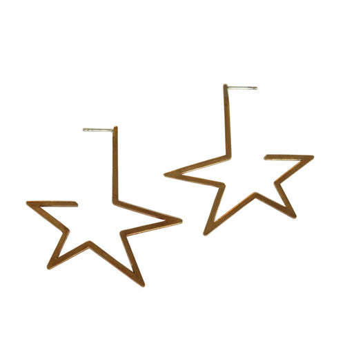 Metrix Jewelry - Brass Star Hoop Earrings