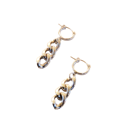 Metrix Jewelry - Sterling Silver Chain Drop Huggie Hoops