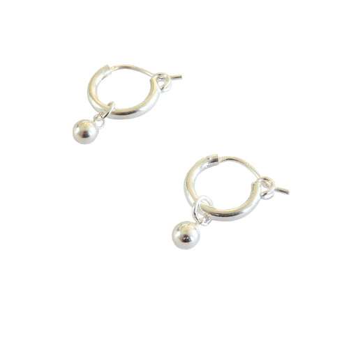 Metrix Jewelry - Ball Huggie Hoops in Sterling Silver