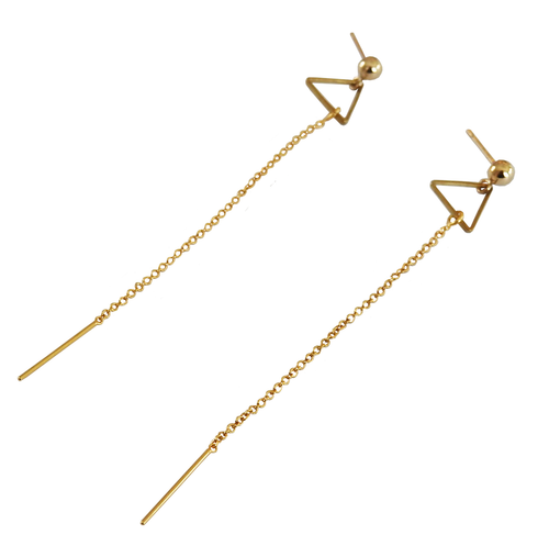 Metrix Jewelry - Geometric Stud Threader Dangle Earring (Triangle, Hexagon, or Spike)