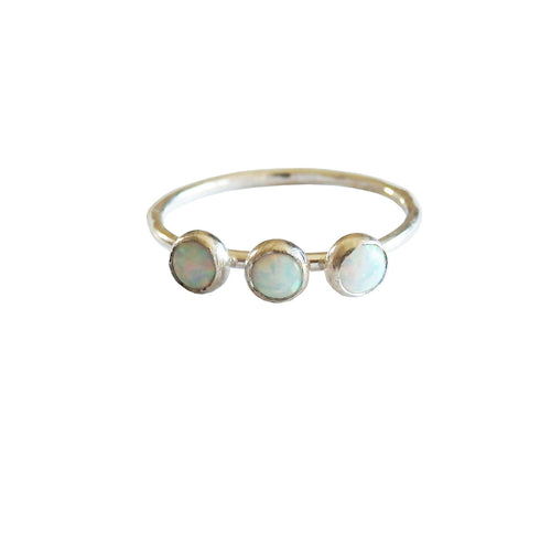 Sterling Silver Triple Opal RIng  Metrix Jewelry
