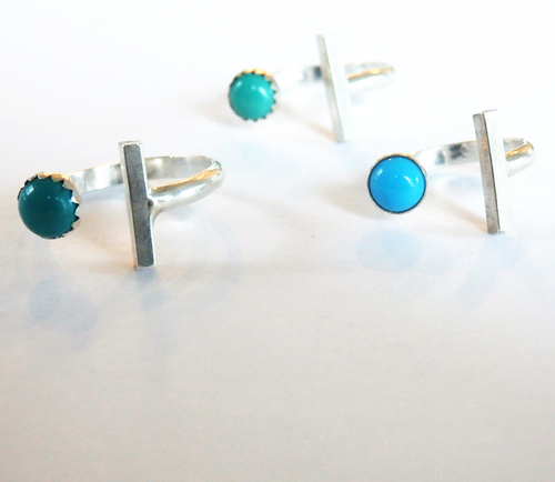 Metrix Jewelry - Sterling Silver Bar and Turquoise Stacking Ring