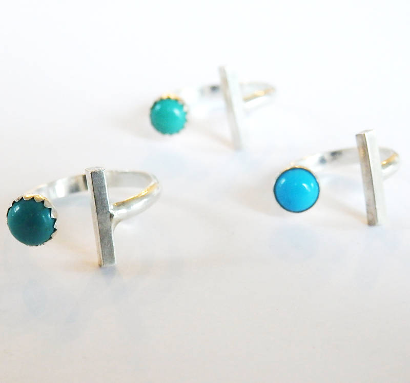 Sterling Silver Bar and Turquoise Stacking Ring