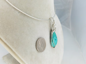 Fabulous Turquoise Gemstone in teardrop shape- hand sculpted in sterling silver .925 argentium anti-tarnish silver