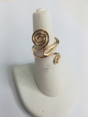 14 kt Gold Filled Wire Sculpted Spiral Ring - Adjustable sizing