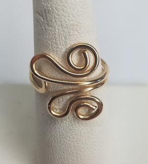 Unique 14 kt Gold Filled Wire Sculpted Ring - Adjustable sizing