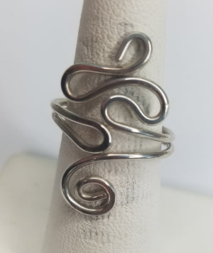 Sterling Silver Wire Sculpted Twisty Spiral Ring - Adjustable sizing
