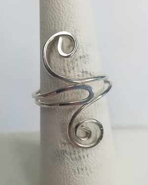 Sterling Silver Wire Sculpted Double Spiral Ring - Adjustable sizing