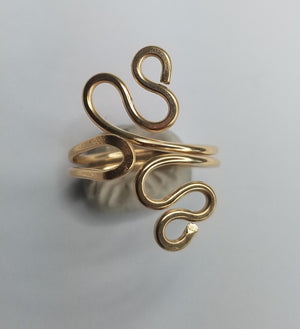 14 kt Gold Filled Wire Sculpted Ring - Adjustable sizing