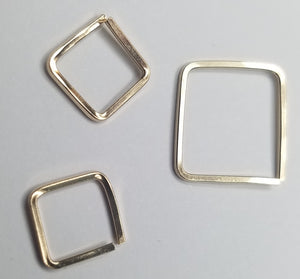 Square cartilage mini hoop, conch, nose piercing, earrings, orbital- 20 gauge Square Wire