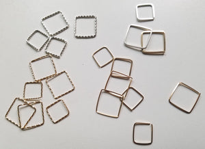 Square cartilage mini hoop, conch, nose piercing, earrings, orbital- 20 gauge Twisted Wire