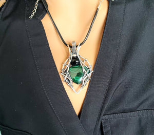 Malachite and Black Onyx Gemstone Wire Sculpted Pendant