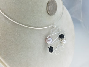 Diffuser beads Pendant Argentium .925 (anti tarnish) Sterling Silver wire with Pearls and diffuser lava beads for essential oils