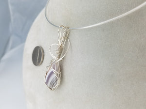 Purple Lace Agate Gemstone Hand-sculpted in Argentium (anti-tarnish) .925 Sterling Silver Wire