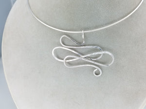 One of a kind Argentium .925 Sterling Silver Wire Pendant