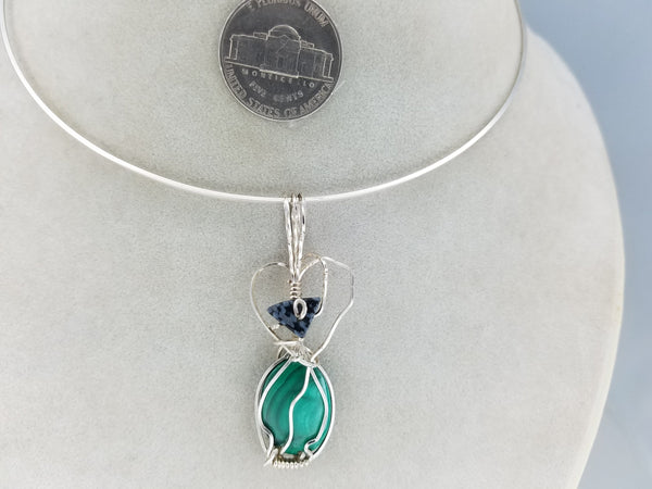 Unique Malachite and Snowflake Jasper Pendant Hand-sculpted in Argentium (anti-tarnish) .925 Sterling Silver Wire
