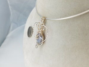 Lace Agate Gemstone in 14kt gold filled and Sterling Silver Argentium .925 wire- Heart Shaped Pendant