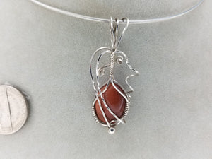 Brown GoldStone Pendant Hand-sculpted in Argentium (anti-tarnish) .925 Sterling Silver Wire