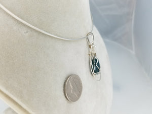 Blue Moss Agate Pendant Hand-sculpted in Argentium (anti-tarnish) .925 Sterling Silver Wire
