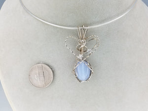 Blue Lace Agate Pendant Hand-sculpted in Argentium (anti-tarnish) .925 Sterling Silver Wire