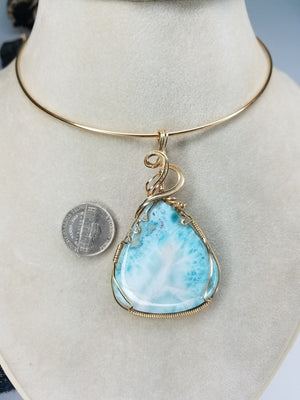 Large Natural Dominican Larimar Gemstone Hand-scuplted in 14kt Yellow Gold-filled Wire