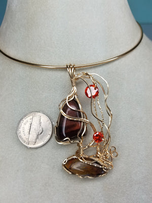 Nautical Gemstone Sailboat Pendant Hand sculpted in 14 kt Yellow gold filled wire - Red Tiger Eye & Pietersite gemstones